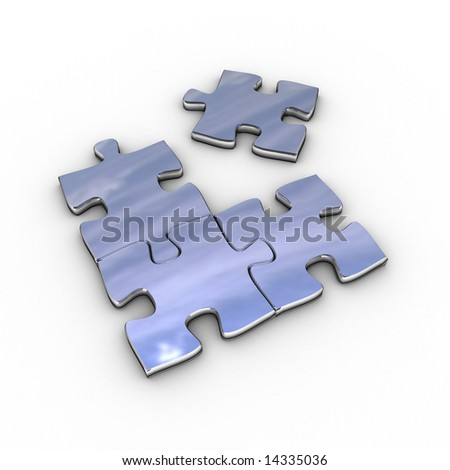Chrome puzzle without the matching piece - stock photo