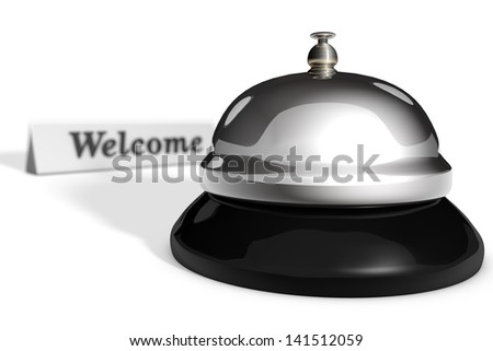 Chrome reception bell on white background