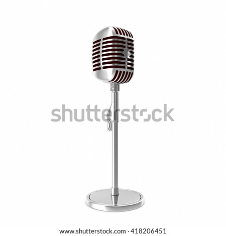 Chrome retro microphone isolated on white backgorund. 3d illustration - stock photo