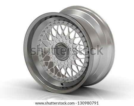 Chrome rim close up isolated on white background - stock photo