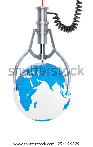 Chrome Robotic Claw with Earth on a white background - stock photo