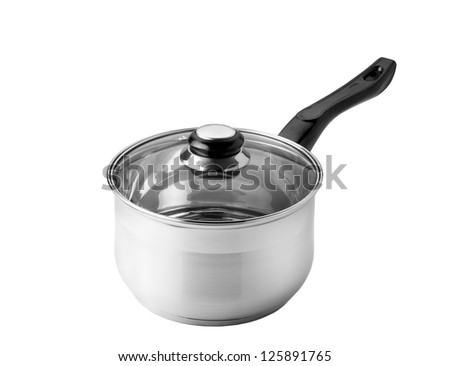 Chrome Saucepan with glass lid isolated on white background with clipping path - stock photo