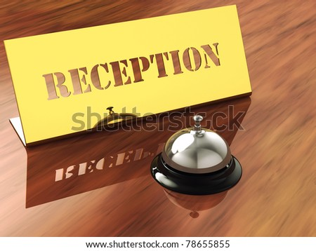 Chrome service bell and brass reception plate ,3d illustration - stock photo