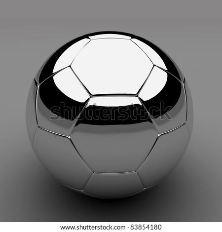 Chrome shiny soccer ball - stock photo