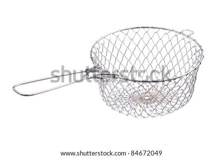 Chrome sieve or colander the kitchenware utensil accessory, an image isolated on white  - stock photo