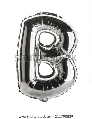 Chrome silver balloon font part of full set upper case letters,B - stock photo
