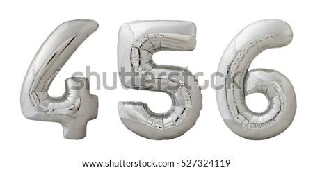 Chrome silver inflatable balloons numbers 4, 5, 6 isolated on white background