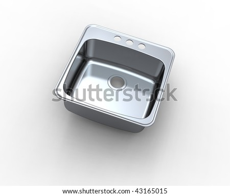 chrome sink  isolated on white - stock photo