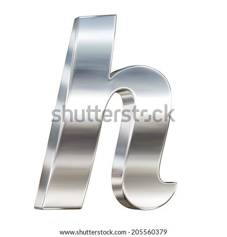 Chrome solid alphabet isolated on white - h lovercase letter - stock photo