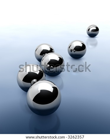 Chrome Spheres Abstract Background. 3D render