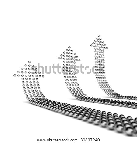 Chrome spheres shaping three arrows pointing upwards - stock photo