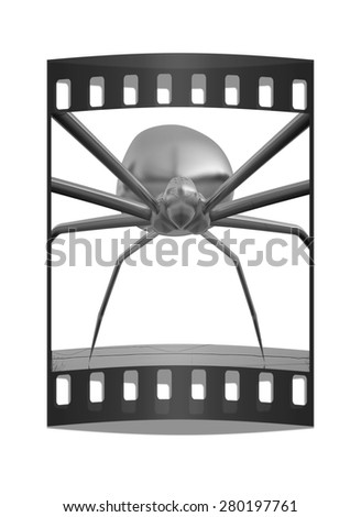 chrome spider.Close-up on a white background. The film strip - stock photo