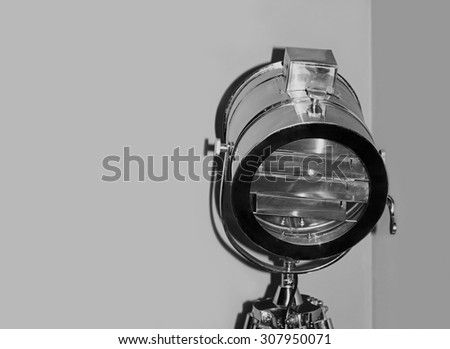 Chrome stage light taken closeup.Monochrome image. - stock photo