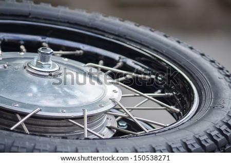 Chrome tire of vintage motobike - stock photo