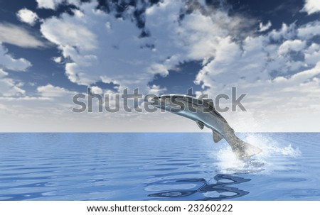 Chrome trout jumping out of blue water with a huge sky in the background - stock photo