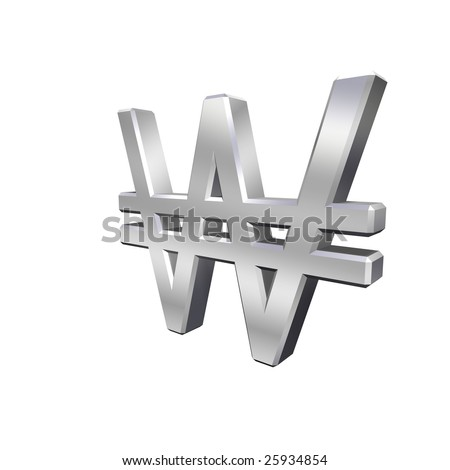 Chrome Won sign isolated on white. Computer generated 3D photo rendering. - stock photo