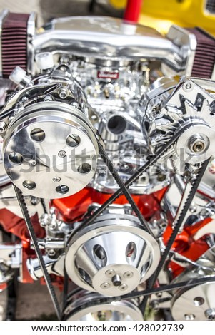 Chromed a powerful car engine