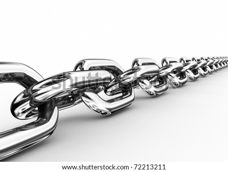 Chromed chain - 3d render - stock photo