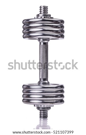 Chromed dumbbell isolated over white background