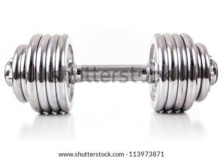Chromed dumbbell weight over white background - stock photo