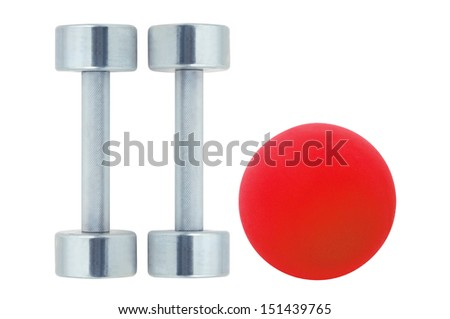 Chromed fitness dumbbells and red ball isolated on white background - stock photo
