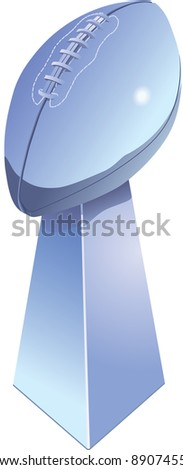 Chromed football trophy, isolated with white background. - stock photo