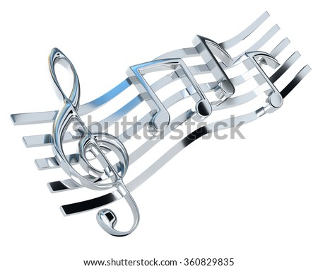 Chromed treble clef and the stave with one-eighth notes, isolated on a white background. Musical Symbol. 3d illustration. - stock photo