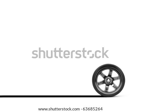 Chromed wheel with tires isolated on white background - stock photo