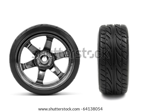 Chromed wheel with tires isolated on white background