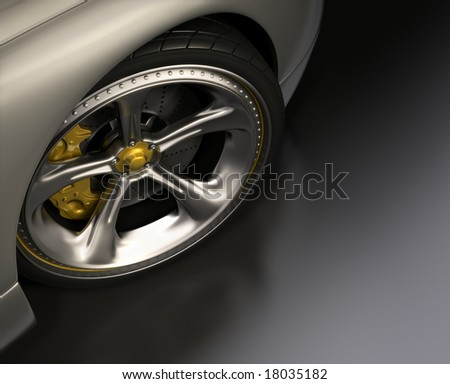 Chromed wheel with yellow details. Exclusive design, good to use without reference of mark. Your text on the right space. - stock photo