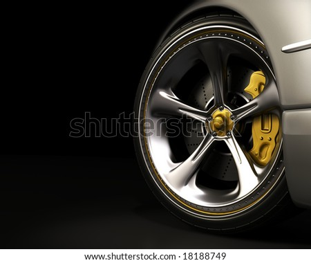 Chromed wheel with yellow details. Exclusive design, good to use without reference of mark. Your text on the left space. - stock photo