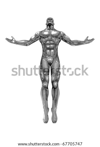 chromeman with open arms, looking up to the sky - stock photo