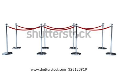 chrone steel crown VIP stanchions with red velvet rope and red carpet for events - stock photo