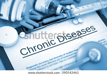 Chronic Diseases on Background of Medicaments Composition - Pills, Injections and Syringe. Chronic Diseases - Printed Diagnosis with Blurred Text.  Toned Image. 3D Render. - stock photo