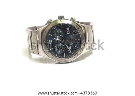 Chronograph watch isolated on white - stock photo