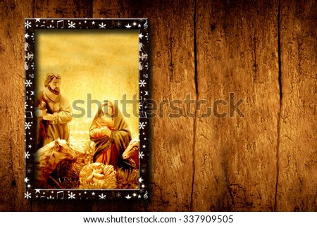 Chrristmas templates, Picture of Nativity Scene on wooden background with blank space for write or put photo - stock photo