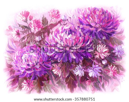 Chrysanthemum flowers on a meadow. Original acrylic hand painting illustration - stock photo