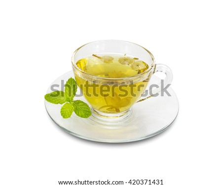 Chrysanthemum tea in a glass isolated on white background,clipping path