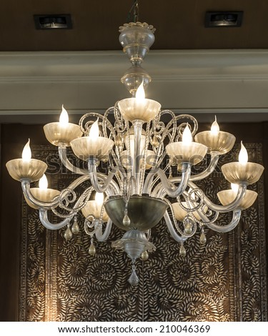 Chrystal chandelier close-up. - stock photo