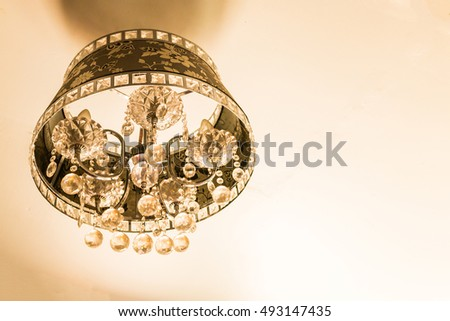 Chrystal lamp chandelier  with copy space