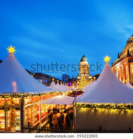 Chtristmas market in Berlin, square composition, text space - stock photo