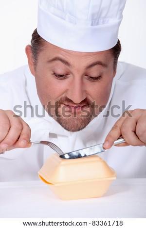 chubby, chef - stock photo