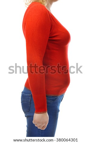 Chubby woman's body in red blouse and jeans isolated on white - stock photo