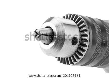 chuck for drill,close-up on white background; isolated - stock photo