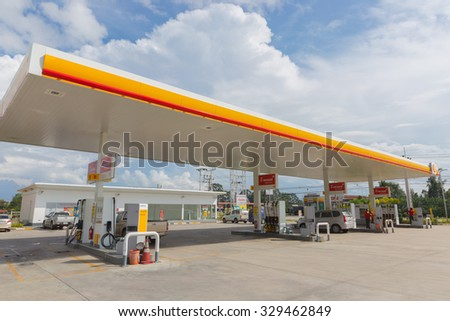 Chumporn, 15 October 2015: Shell gas station in Chumporn Muang district,Chumporn province, Thailand. Royal Duch Shell is largest oil company in the world