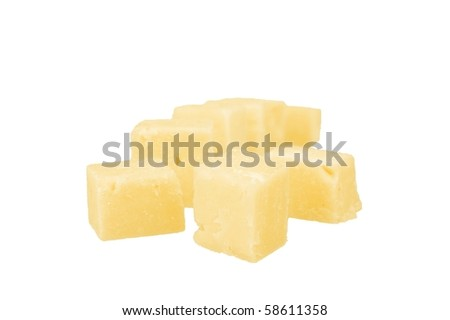 chunk of cheddar cheese isolated over white - stock photo