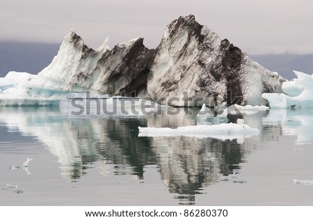 Chunk of Ice floating on glacier