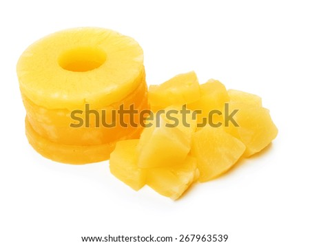chunks of canned pineapple on white background - stock photo