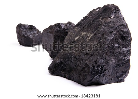 Chunks of coal isolated on a white background. - stock photo