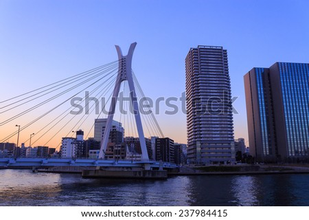 Chuo ohashi bridge and Skyscraper in Tokyo at dusk